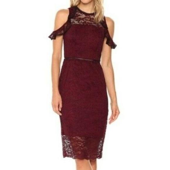 bebe Dresses & Skirts - bebe Size 4 Lace Cold Shoulder Dress GUC